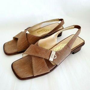 Ferragamo Open Toe Sandals 7.5 D Caramel Brown